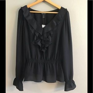 Silk NWT White House Black Market Ruffled Blouse